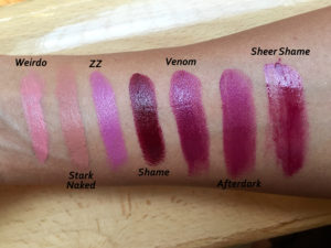 Urban Decay Vice Lipstick swatches